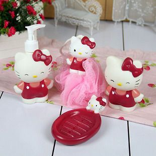 4pcs set hello kitty bathroom bath lotion bottle shower from china