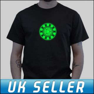 Iron Man Arc Reactor REAL Glow in The Dark Black T shirt All Sizes