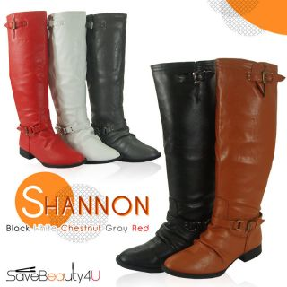 New Women Buckle Faux Leather Back Zipper Knee High Boots   Shannon