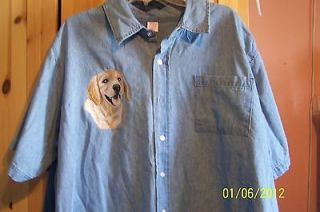 NEW GOLDEN RETRIEVER PUPPY EMBROIDERED DENIM SHIRT ADD NAME FOR FREE