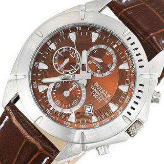 PULSAR by Seiko Mens Chronograph Watch Brown Leather Band PF8303