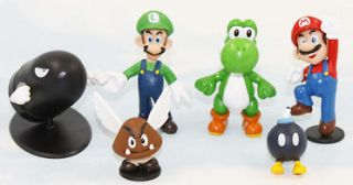 super mario bros bullet bob omb yoshi luigi 1 2.5 figure toy lot 6