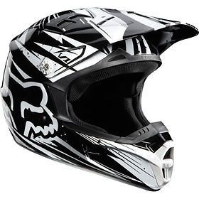black white xxl fox racing v1 undertow helmet chaparral motorsports