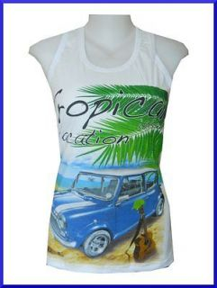 Tank Top Mini Cooper Classic Car GUITAR ENGLAND Vintage Retro Rock
