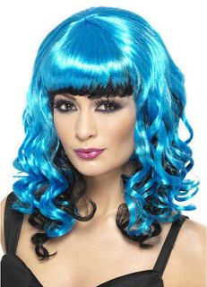 sexy punk emo cosplay costume neon blue black curly wig