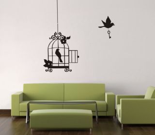 hanging bird cage wall art sticker vinyl deco gc034 more