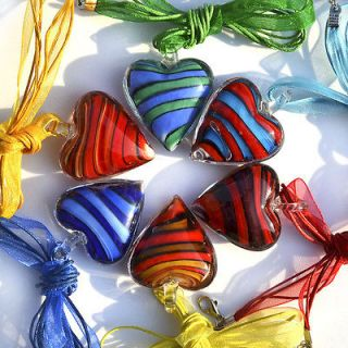 new handmade lots 6pcs murano glass womens heart necklace pendant