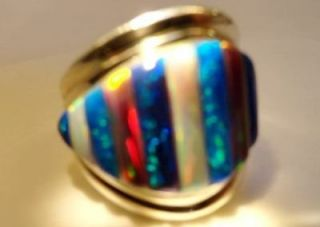 LARGE BRILLIANT BLACK RED White FIRE OPAL MENS Ring 9 Silver 925 $350