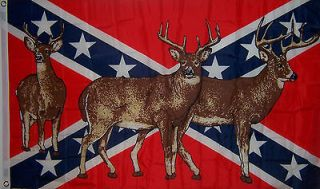 NEW LARGE 3ftx5ft REBEL DEER HUNTING CONFEDERATE INDOOR OUTDOOR FLAG