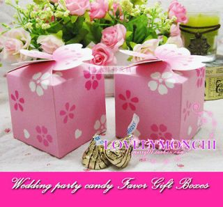30pcs Cherry Blossom Pink Wedding Party Candy Box Favor Gift Boxes