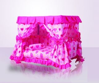 Luxury Pink Princess Dogs Cat Pet Bed House Handmade Gorgeous 3