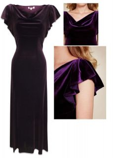 PER UNA M&S PURPLE VELVET LONG MAXI DRESS PARTY VINTAGE EVENING DRESS