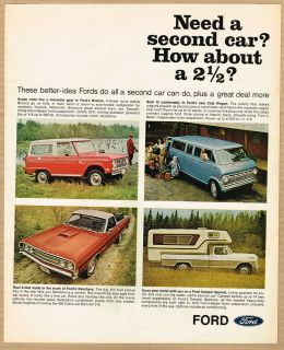 1968 Ford Bronco/Ranchero/Van/Pickup Camper Ad in wilderness/camping #