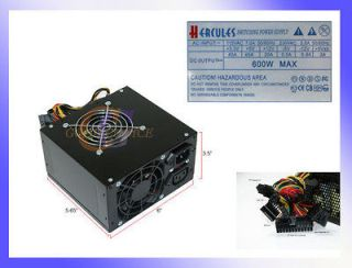 600W Black Dual Fan Silent Power Supply w/20 24pin SATA PCI E* New