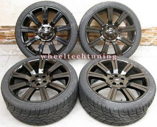22 RANGE ROVER STORMER WHEEL AND TIRE PACKAGE GLOSSY BLACK