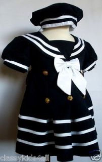 Baby Girl Toddler Formal Nautical Sailor Dress Navy Blue with Hat Size
