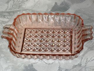 PINK DEPRESSION GLASS CANDY or SERVING DISH w/Handles Diamond