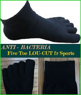 New 6Pairs Mens Five Toe Socks COTTON BLACK LOW CUT Anit Bacteria