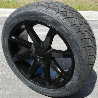 22 BLACK KMC SLIDE WHEELS RIMS NITTO NT420S TIRE CHEVY TAHOE GMC