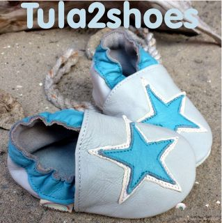 tula2shoes LEATHER BABY BOYS SHOES Turquoise Blue Star on Grey 0 6 12