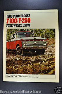 1966 Ford F 100 F 250 4 Wheel Drive Pickup Trucks Brochure Mint