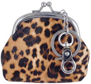 New Cute Brown Leopard Print Keyring Clutch Coin Small Bag #B112