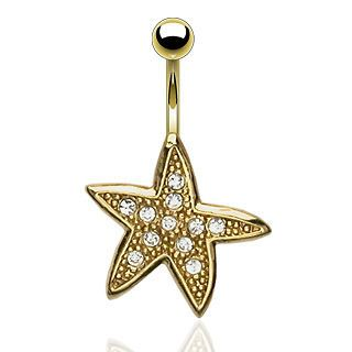 Newly listed Starfish Clear Gem Gold Plated Navel Belly Ring Body