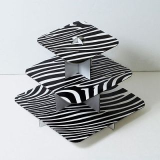 12 square 3 tier cupcake tree zebra black wedding baby shower party