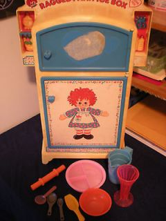 Vintage lot Includes Raggedy Ann Ice box Refrigerator Great retro toy