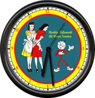 reddy kilowatt electrician tool service sign wall clock time left