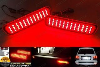 Toyota Land Cruiser Red Lens LED Rear Bumper Reflector Tail Brake Stop