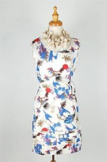 NEW AUTH Kate Spade Feather & Palm Floral Spring Dress White 6