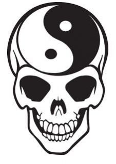 Yin Yang Skull Vinyl Wall Art Sticker Tattoo Art Style Design Present