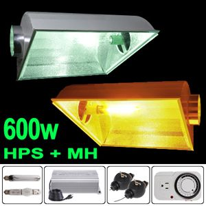 600W Digital HPS MH Grow Light Air Cooled Hood Reflector 600 Watt