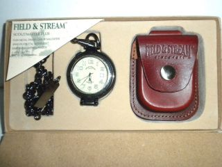 Mens Pocket Watch by Field Stream with Chain Leather Pouch