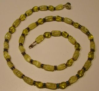 Vtg 1950s Yellow Art Glass Green Rhinestone Necklace