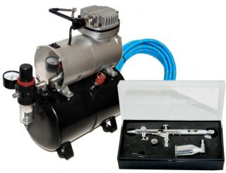 SB86 Dual Action Side Feed Airbrush Tank Air Compressor