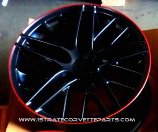 ZR1 Custom Red Lip Corvette Wheels ZR1 ZO6 Z06 Grand Sport