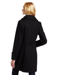 AK Anne Klein Womens Double Breasted Walker Coat 6120233E Black XL