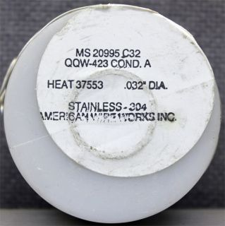 American Wire Works MS20995C32 Safety Wire Stainless Steel 304 .032