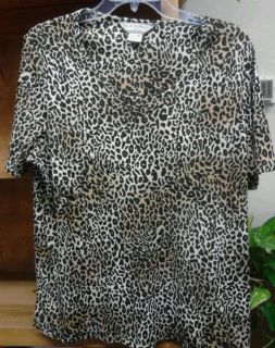 ALLISON DALEY II PLUS SIZE 2X WOMENS KNIT TOP BLOUSE IN BROWN LEOPARD