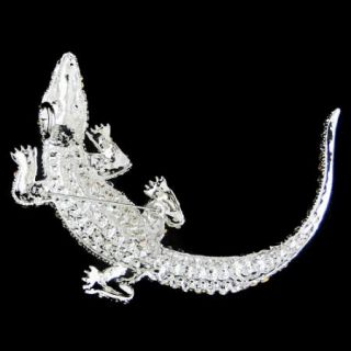 Huge 4 4 Alligator Pin Brooch Swarovski Crystal Clear Crocodile
