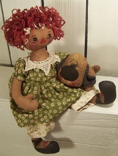 Primitive Raggedy Annie with Puppy Dog Love Cloth Craft Doll Sewing