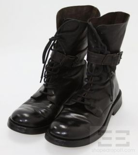 Ann DEMEULEMEESTER Black Leather Lace Up Buckle Strap Motorcycle Boots