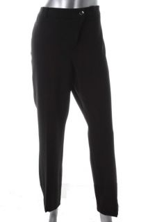 Anne Klein New Black Stretch Flat Front Slim Dress Pants 14 BHFO