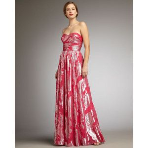 AIDAN MATTOX $475 Pink Metallic Strapless Silk Long Gown Dress NEW