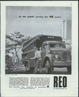 In The Public Service for 40 Years REO Public Utility Service Truck Ad