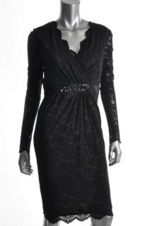 Anne Klein New Black Lace Overlay Embellished Surplice Cocktail