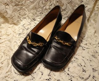 Womens Anne Klein 2 Soft Black Leather 1 1 2 Heel Loafers Dress Shoes