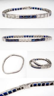 Antique Art Deco Diamond & Blue Sapphire Bracelet Solid 14K White Gold